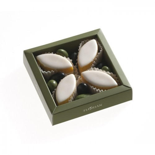 Coffret de calissons et olives en chocolat